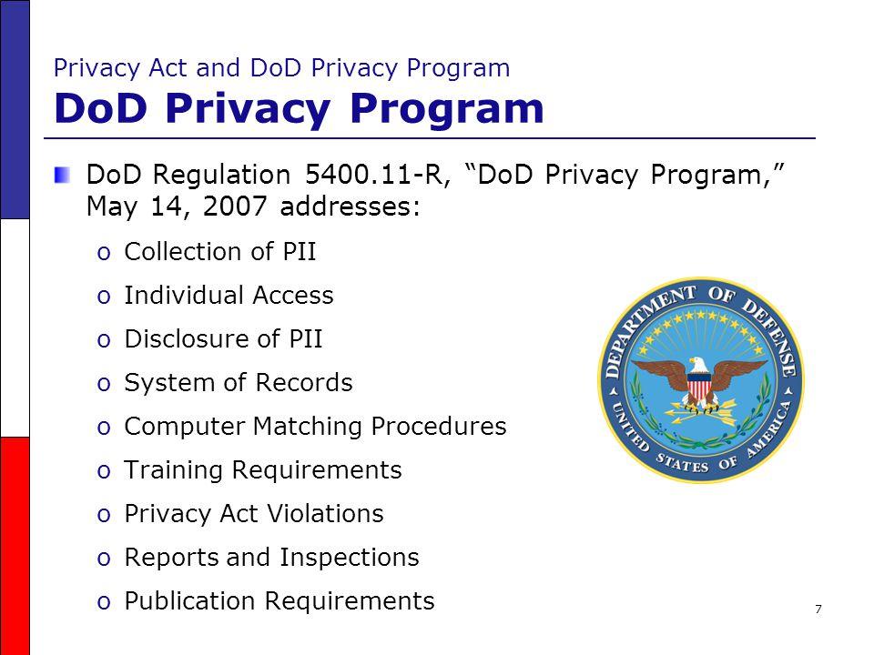 Privacy Act and DoD Privacy Program DoD Privacy Program
