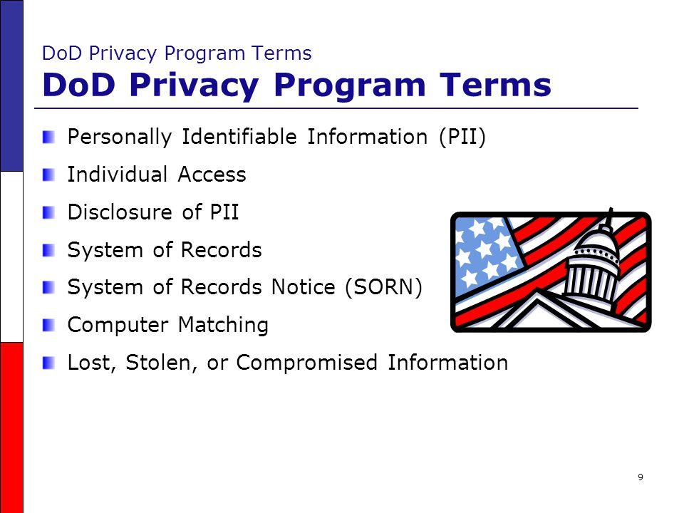 DoD Privacy Program Terms DoD Privacy Program Terms