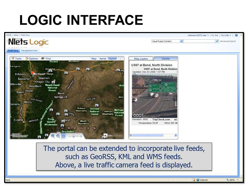 LOGIC INTERFACE The portal can be extended to incorporate live feeds,