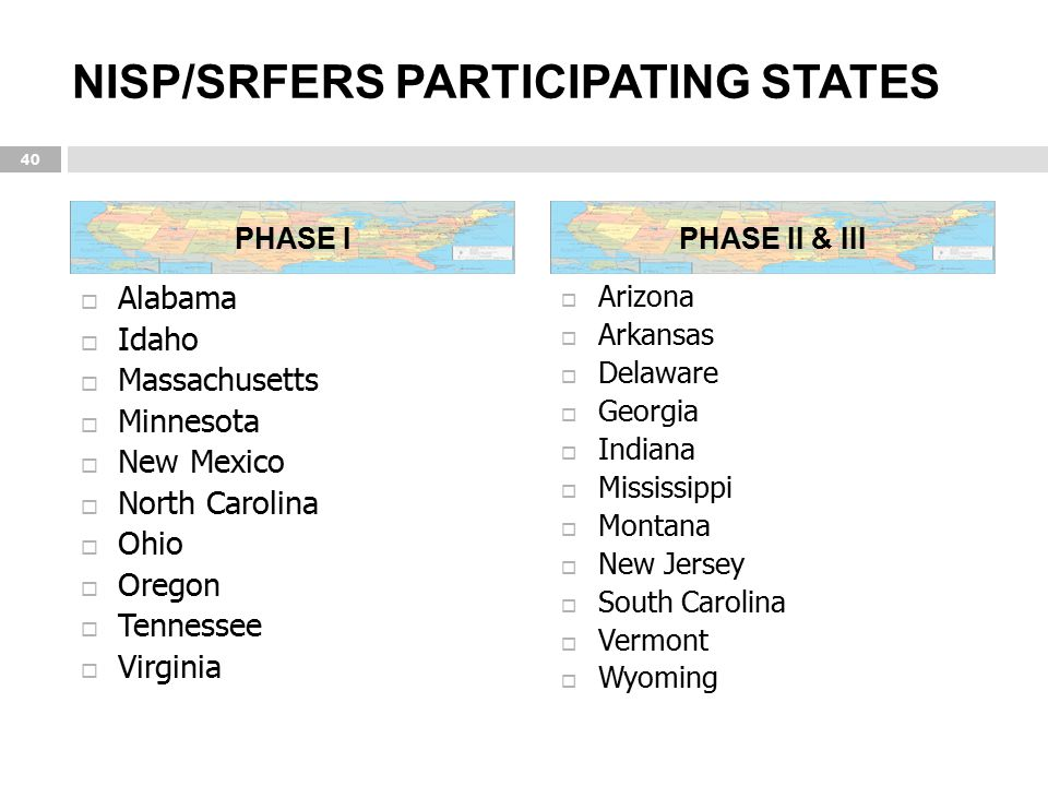 NISP/SRFERS PARTICIPATING STATES
