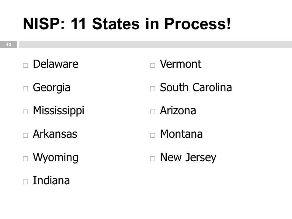 NISP: 11 States in Process!