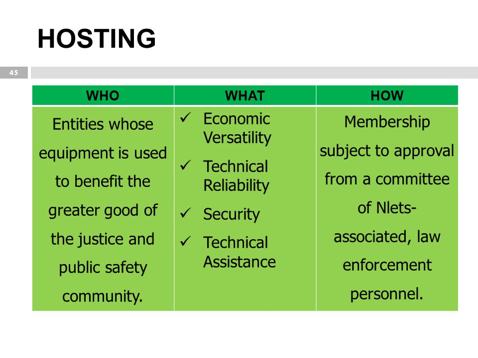 HOSTING WHO. WHAT. HOW. Entities whose equipment is used to benefit the greater good of the justice and public safety community.