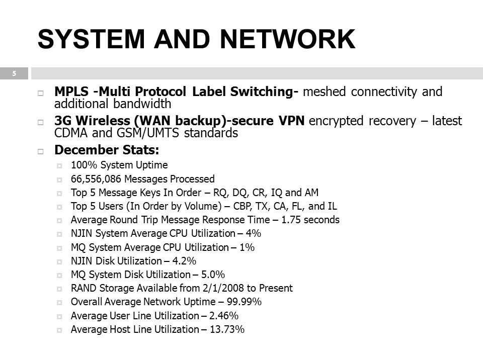SYSTEM AND NETWORK MPLS -Multi Protocol Label Switching- meshed connectivity and additional bandwidth.