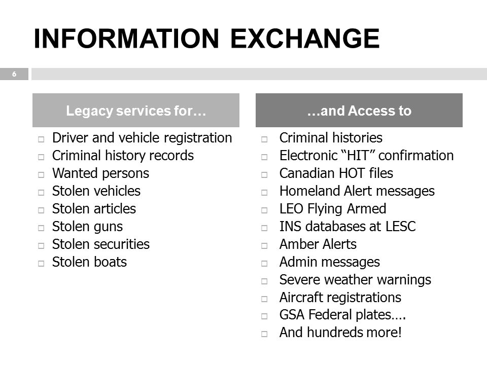 INFORMATION EXCHANGE Legacy services for… …and Access to