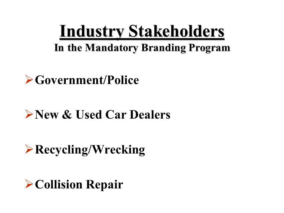 Industry Stakeholders In the Mandatory Branding Program