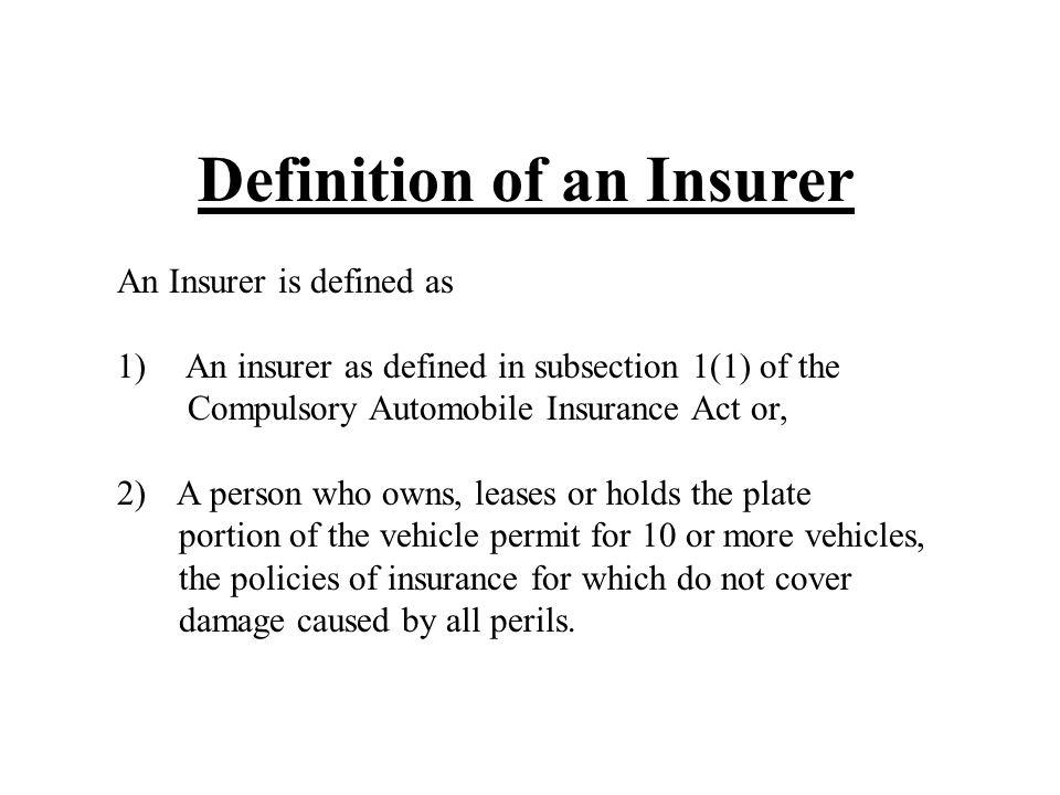 Definition of an Insurer