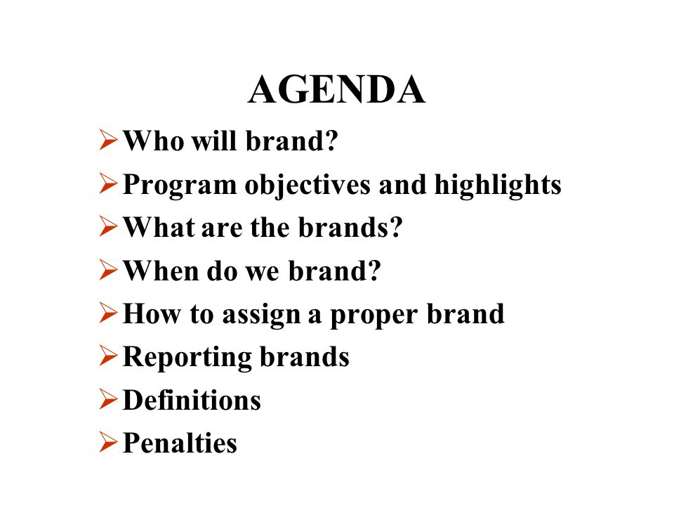 AGENDA Who will brand Program objectives and highlights