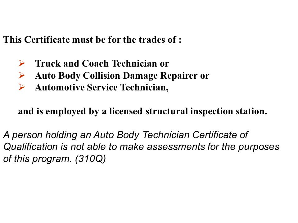 This Certificate must be for the trades of :