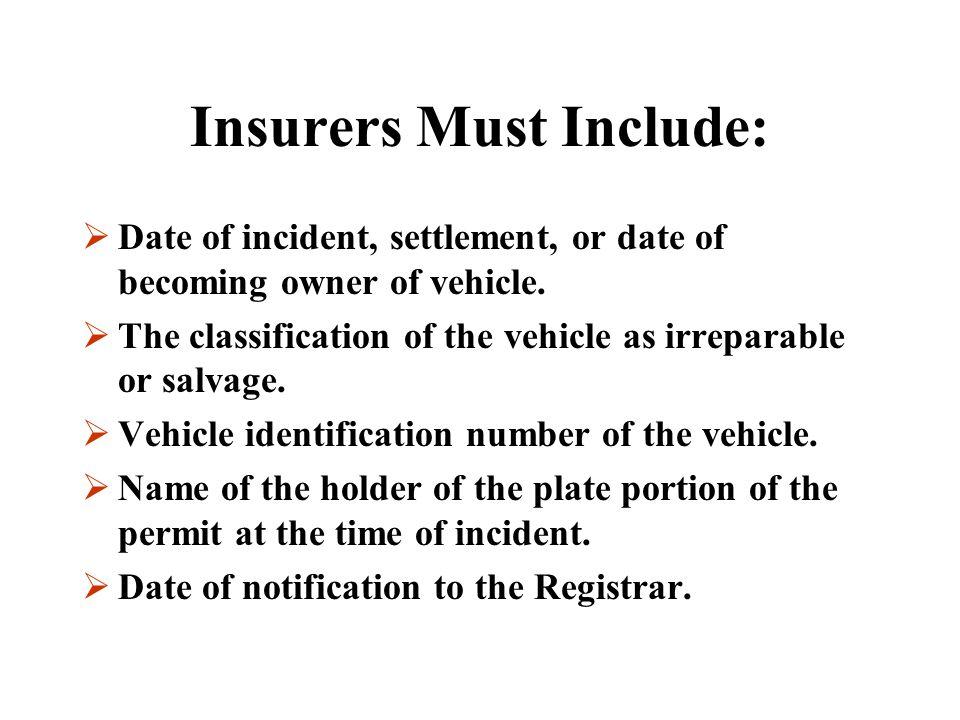 Insurers Must Include:
