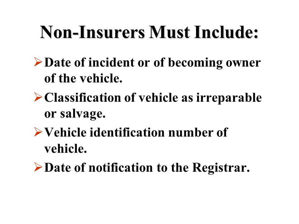 Non-Insurers Must Include: