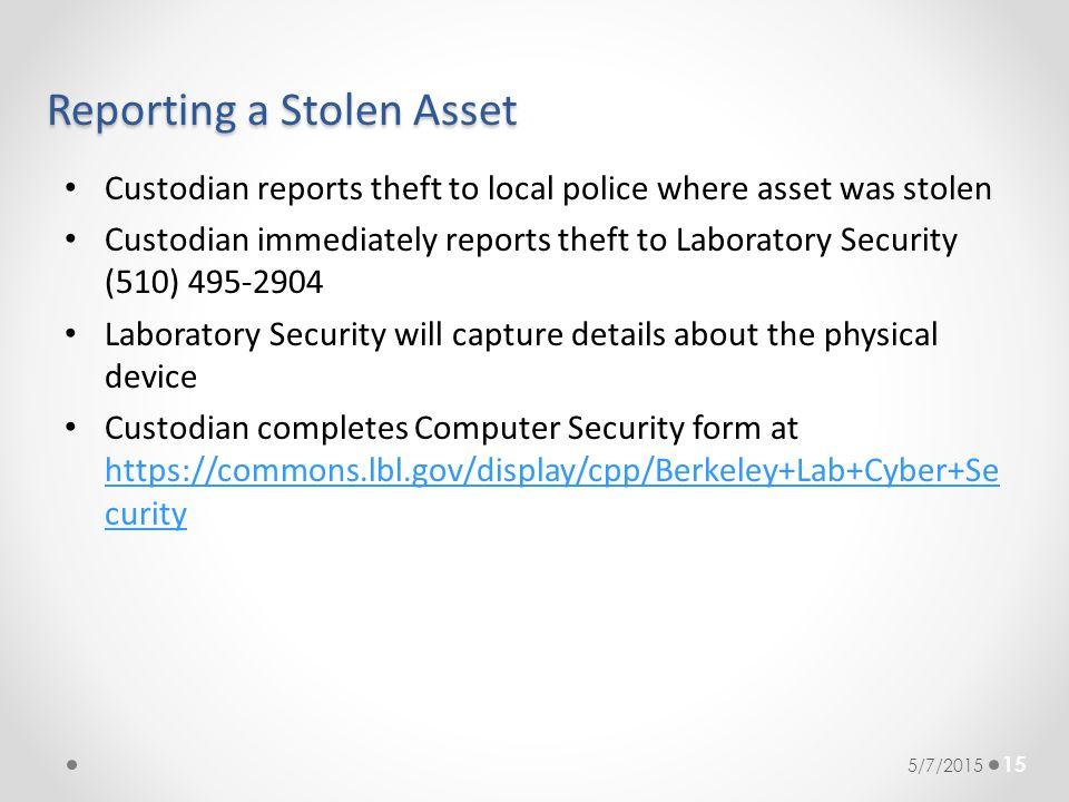 Reporting a Stolen Asset