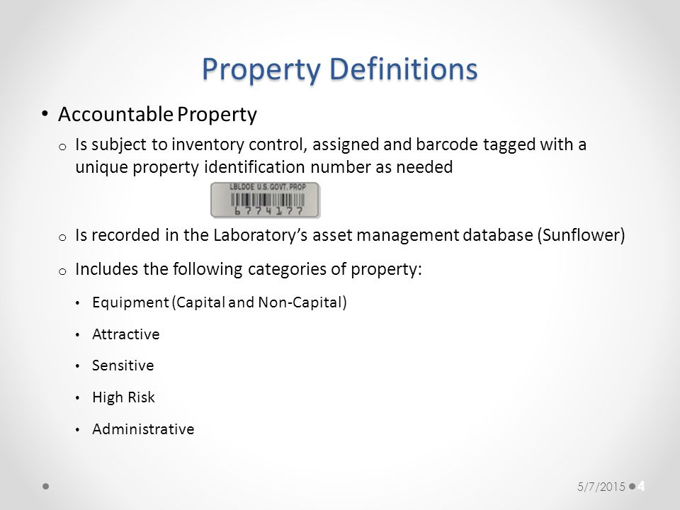 Property Definitions Accountable Property