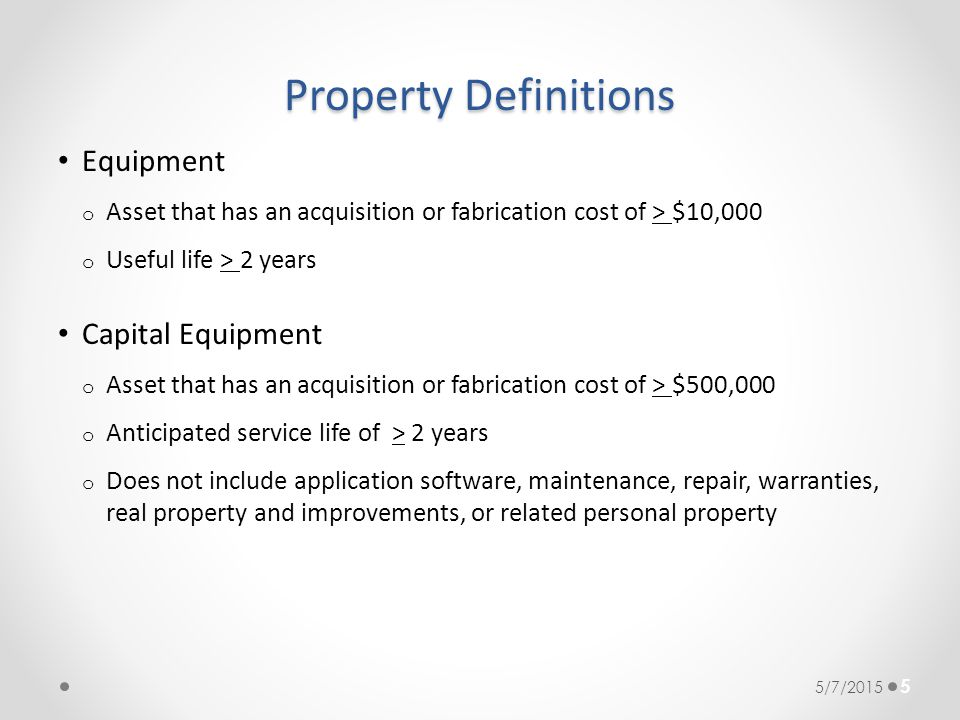 Property Definitions Equipment Capital Equipment