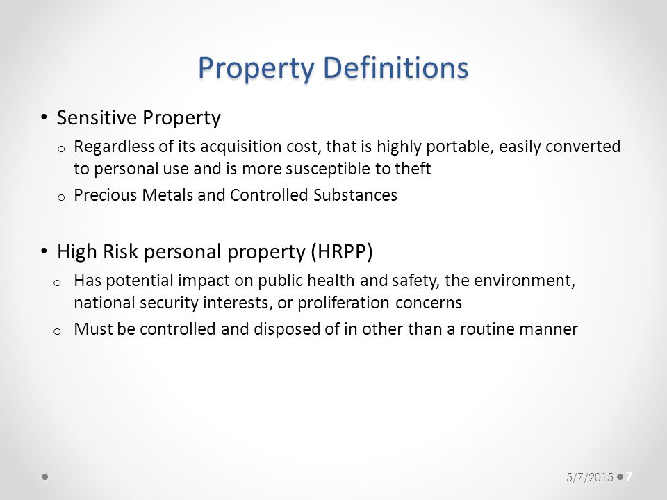 Property Definitions Sensitive Property