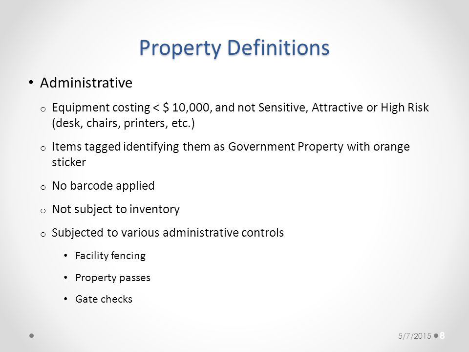 Property Definitions Administrative