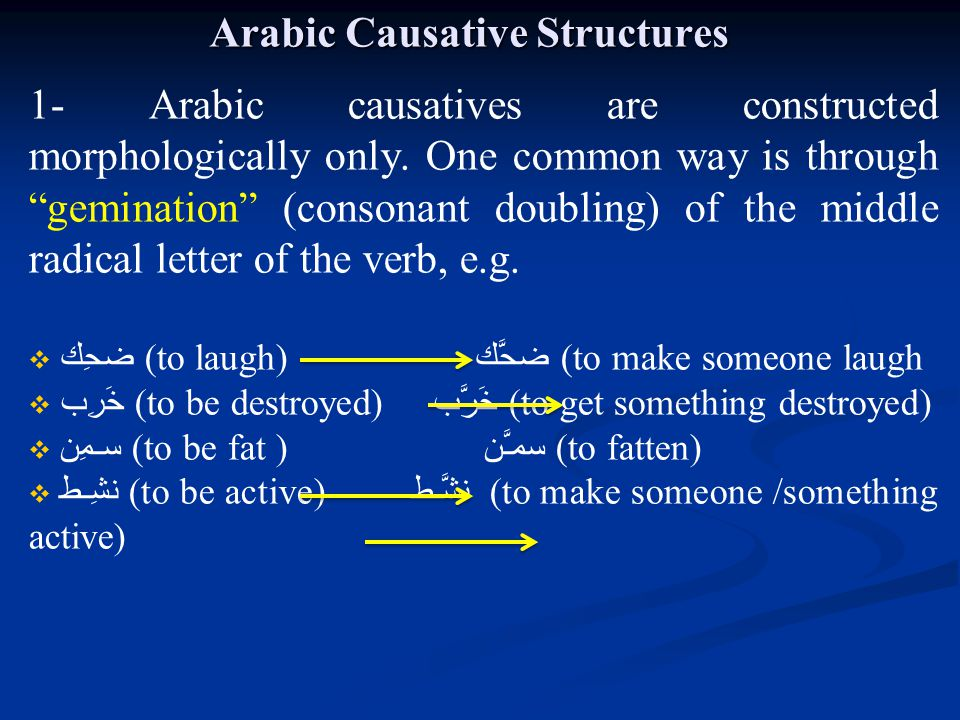 Arabic Causative Structures