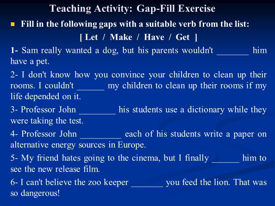 Teaching Activity: Gap-Fill Exercise