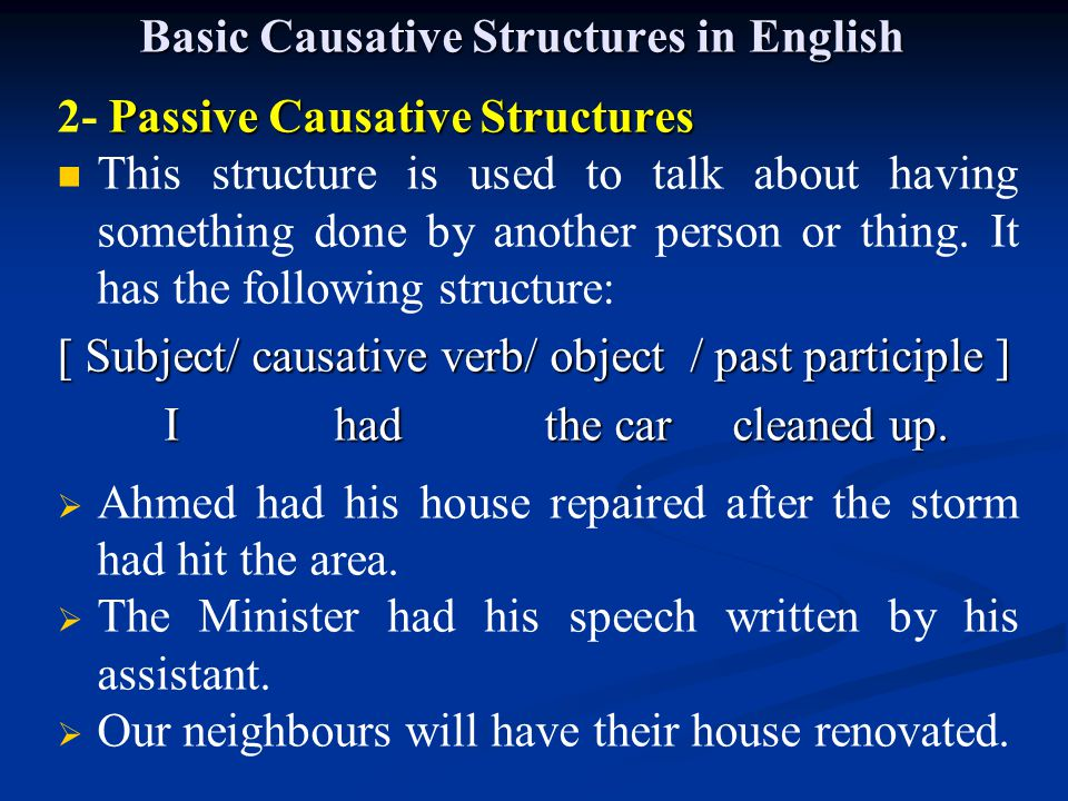 Basic Causative Structures in English