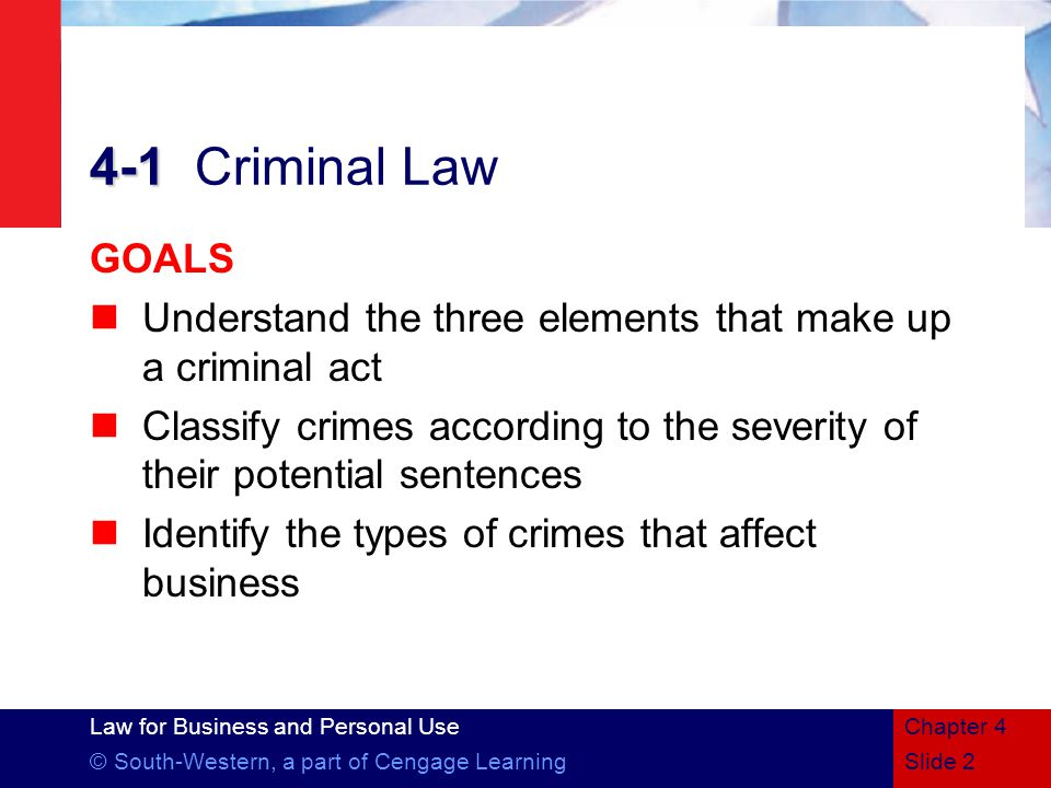 4-1 Criminal Law GOALS. Understand the three elements that make up a criminal act.