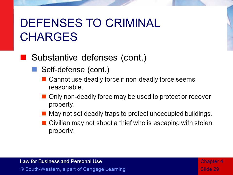 DEFENSES TO CRIMINAL CHARGES