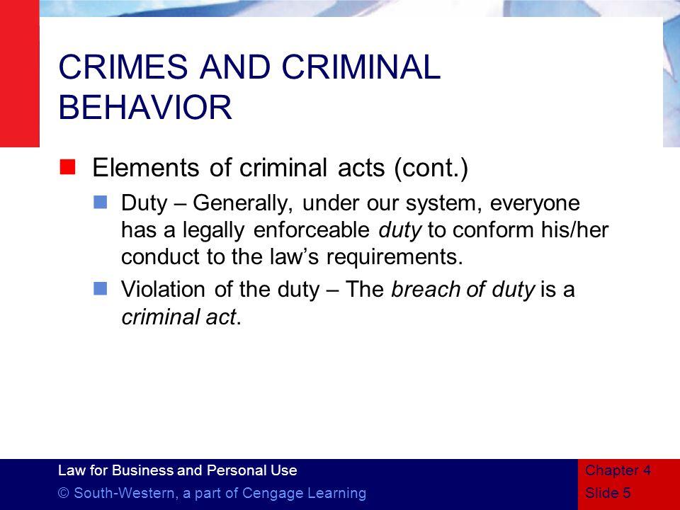 CRIMES AND CRIMINAL BEHAVIOR