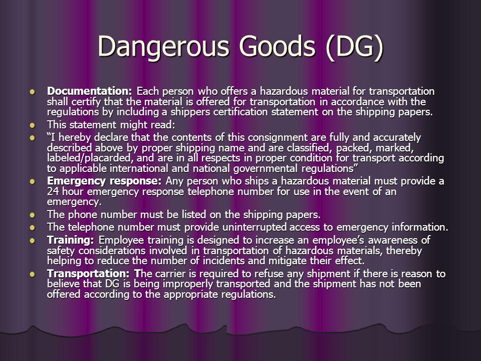 Dangerous Goods (DG)