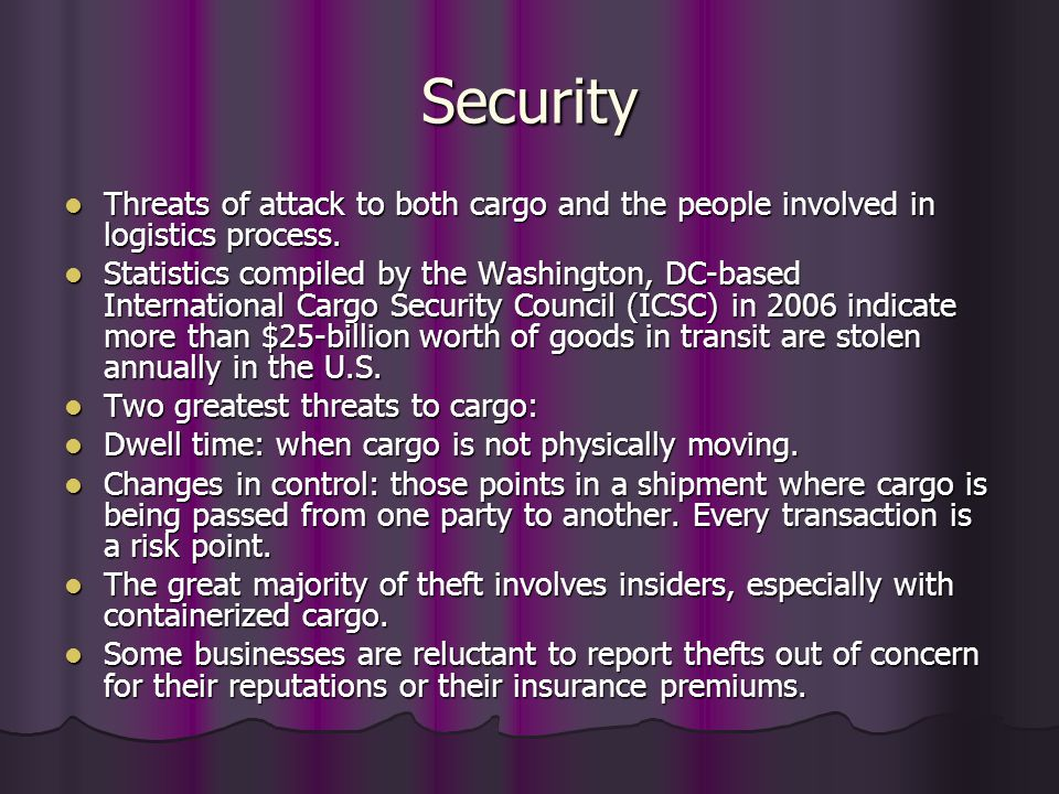 Security Threats of attack to both cargo and the people involved in logistics process.