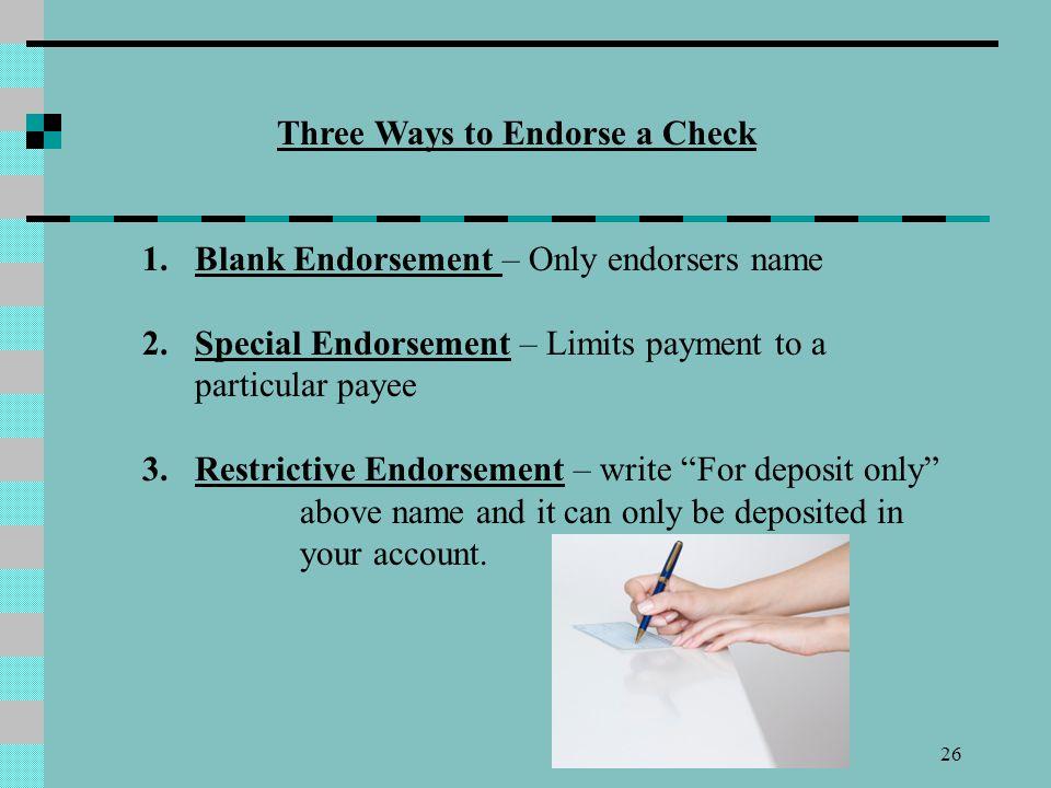 Three Ways to Endorse a Check