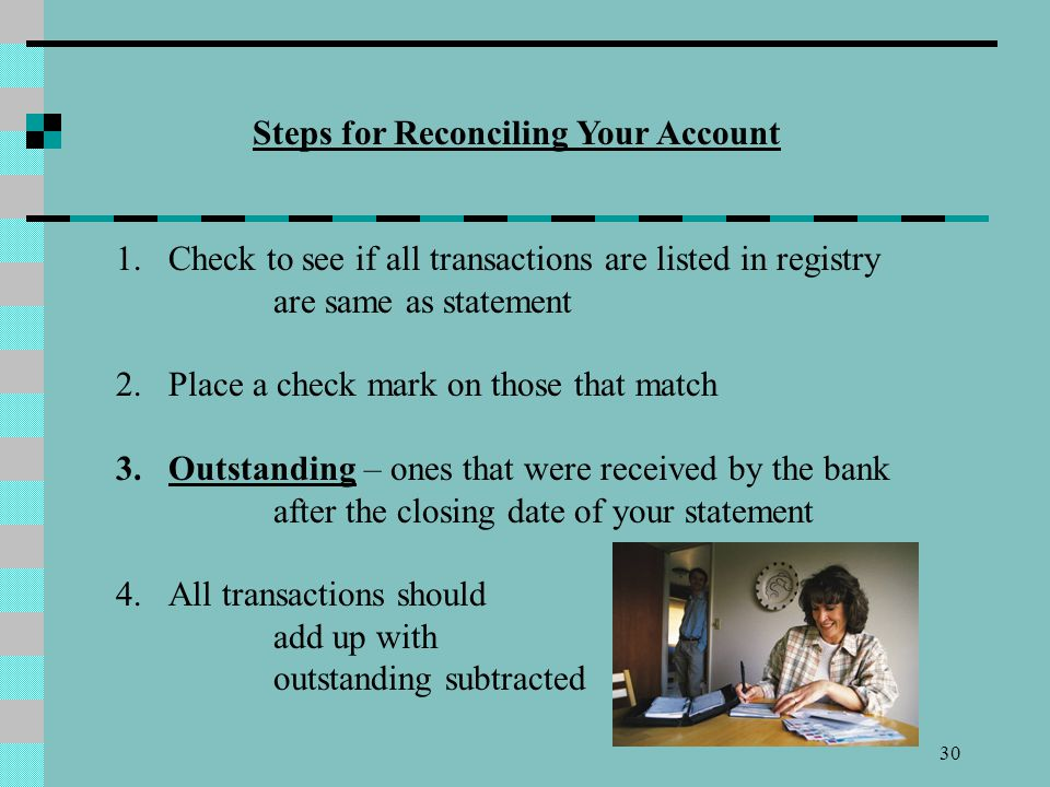Steps for Reconciling Your Account