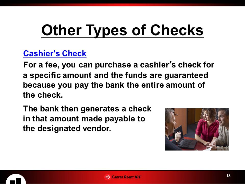 Other Types of Checks Cashier s Check