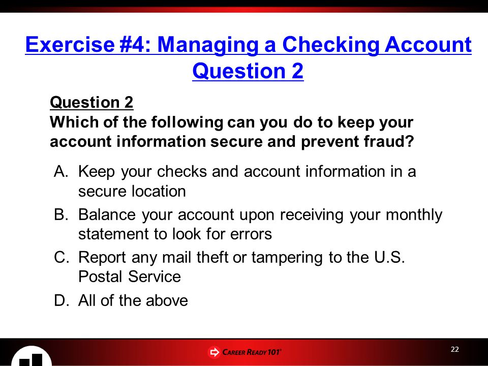 Exercise #4: Managing a Checking Account Question 2