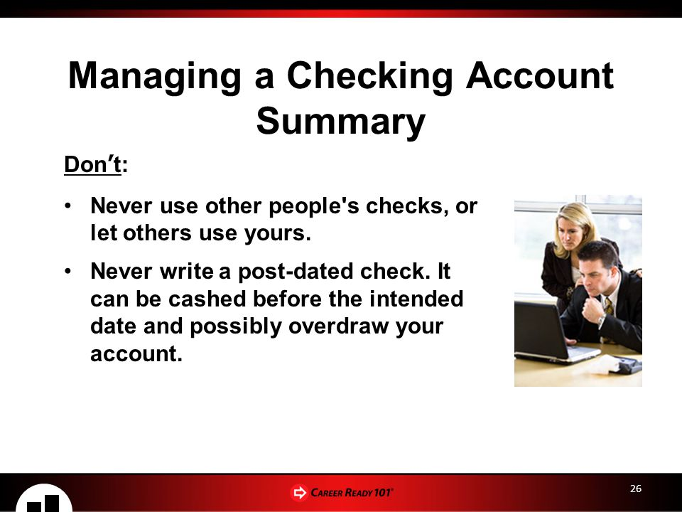 Managing a Checking Account Summary