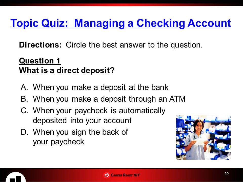 Topic Quiz: Managing a Checking Account