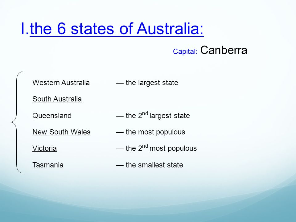 the 6 states of Australia: Capital: Canberra