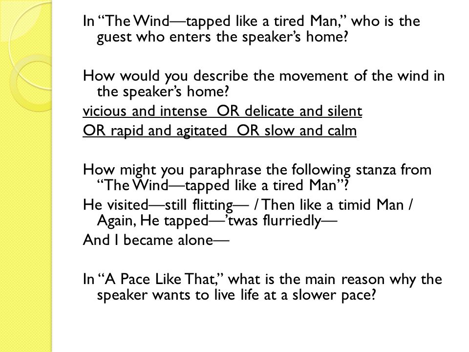 In The Wind—tapped like a tired Man, who is the guest who enters the speaker's home.