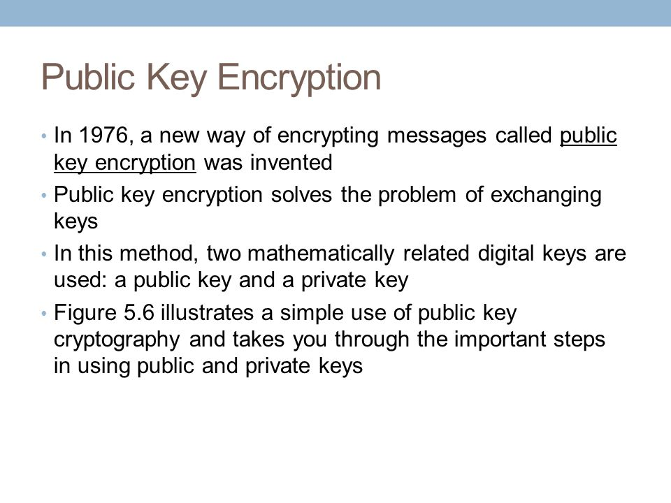 Public Key Encryption In 1976, a new way of encrypting messages called public key encryption was invented.