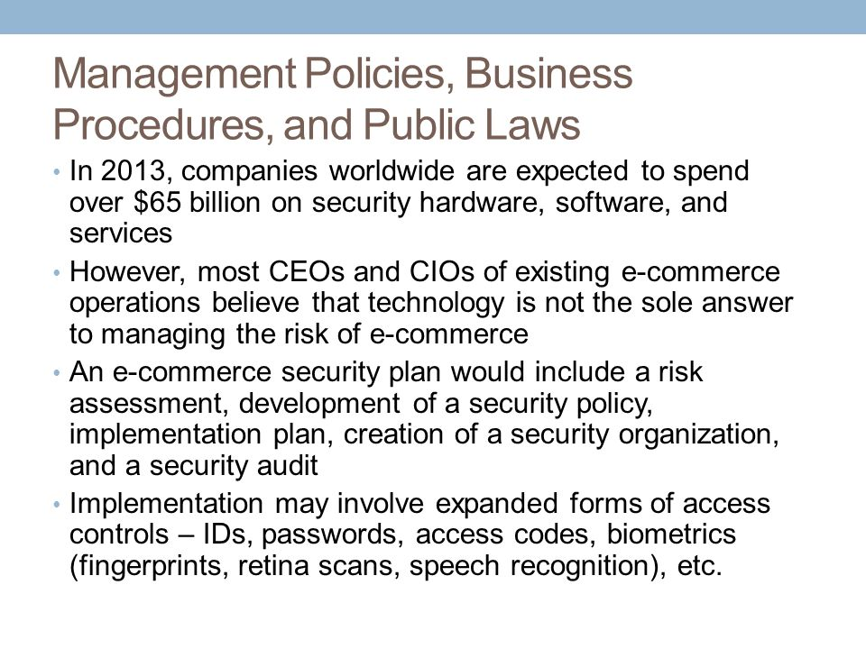 Management Policies, Business Procedures, and Public Laws