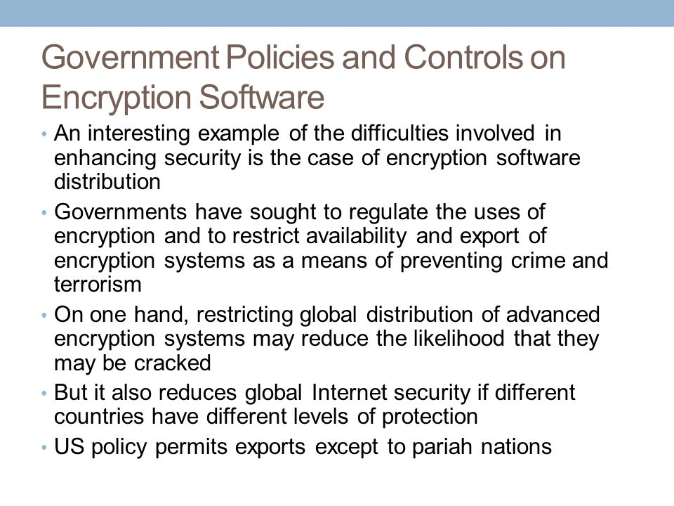 Government Policies and Controls on Encryption Software
