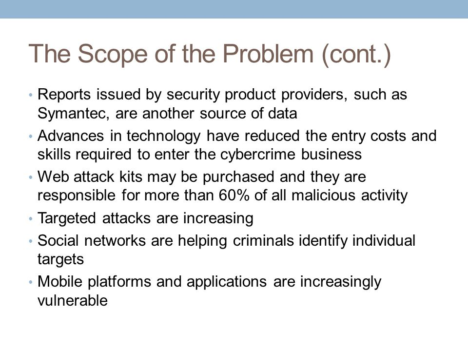 The Scope of the Problem (cont.)