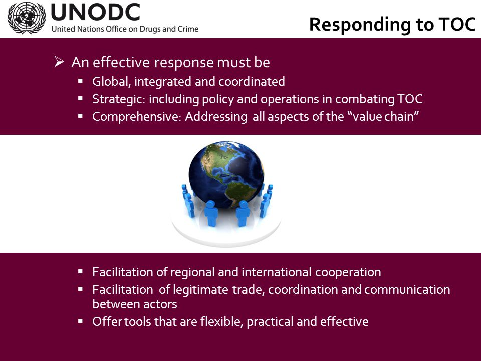 Responding to TOC An effective response must be UNTOC's contribution:
