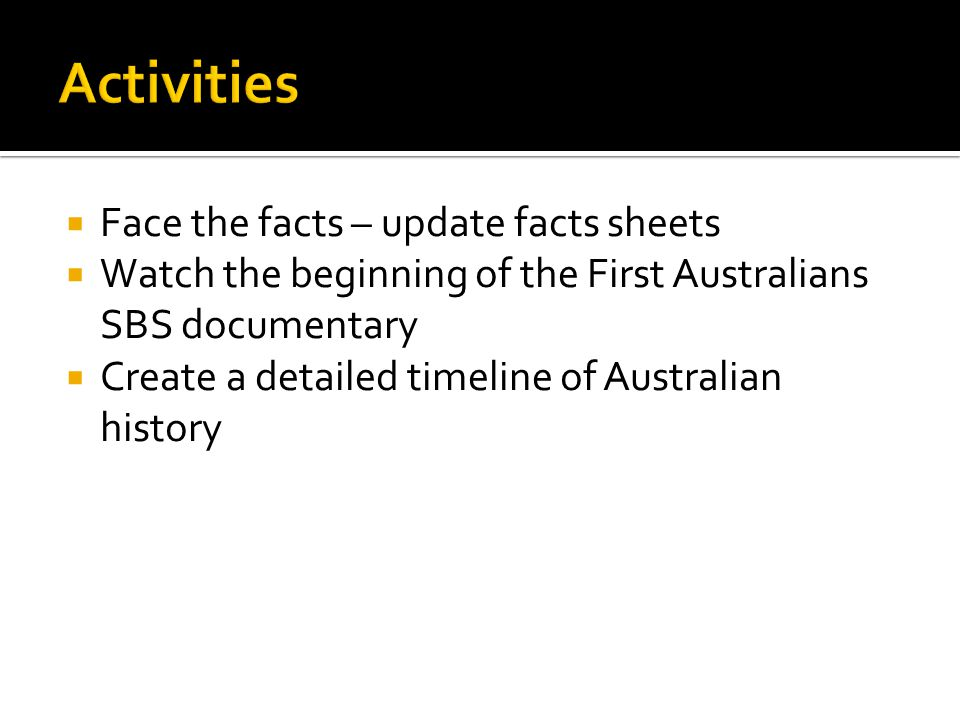 Activities Face the facts – update facts sheets