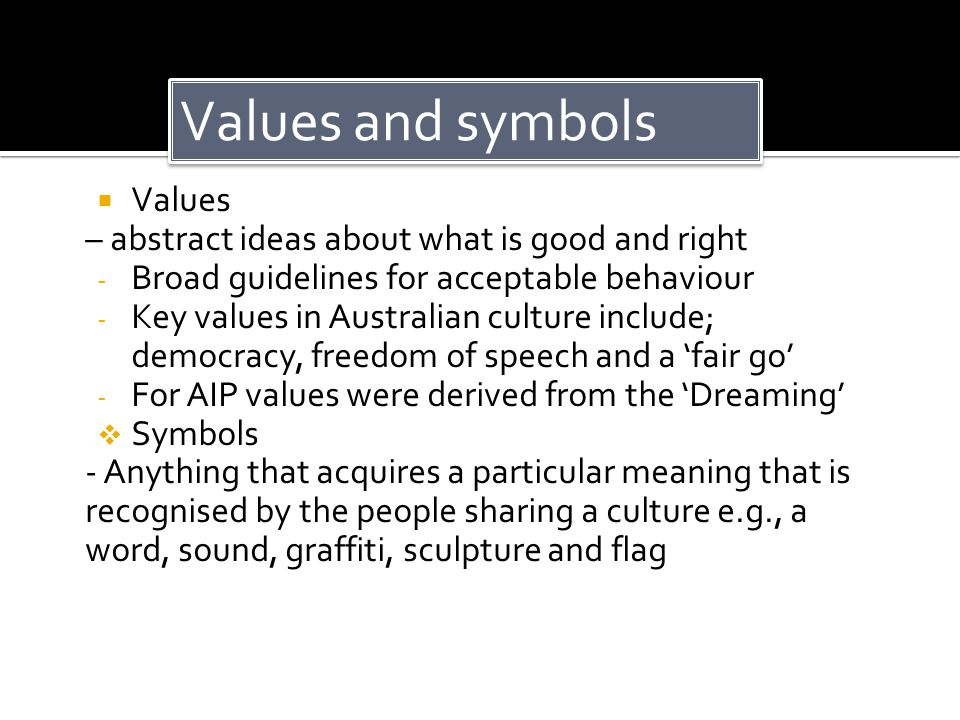 Values and symbols Values