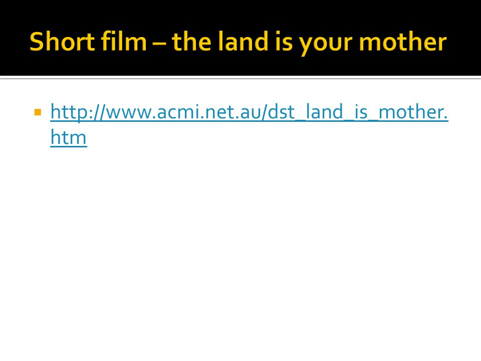Short film – the land is your mother
