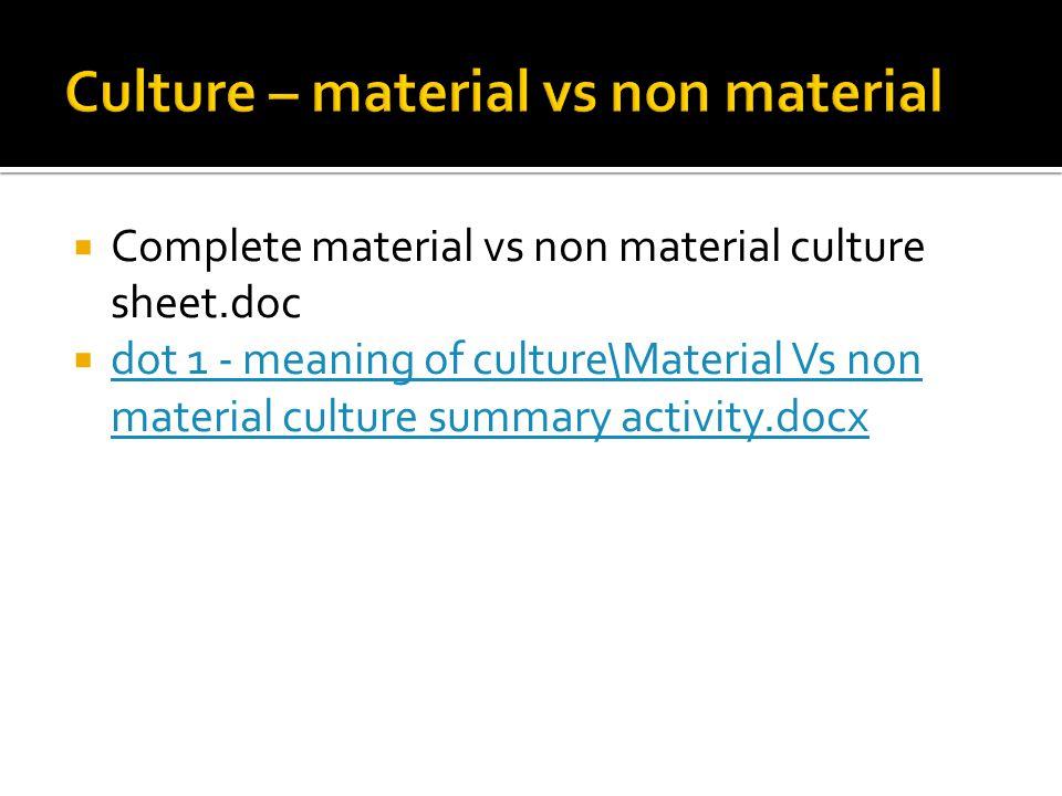 Culture – material vs non material