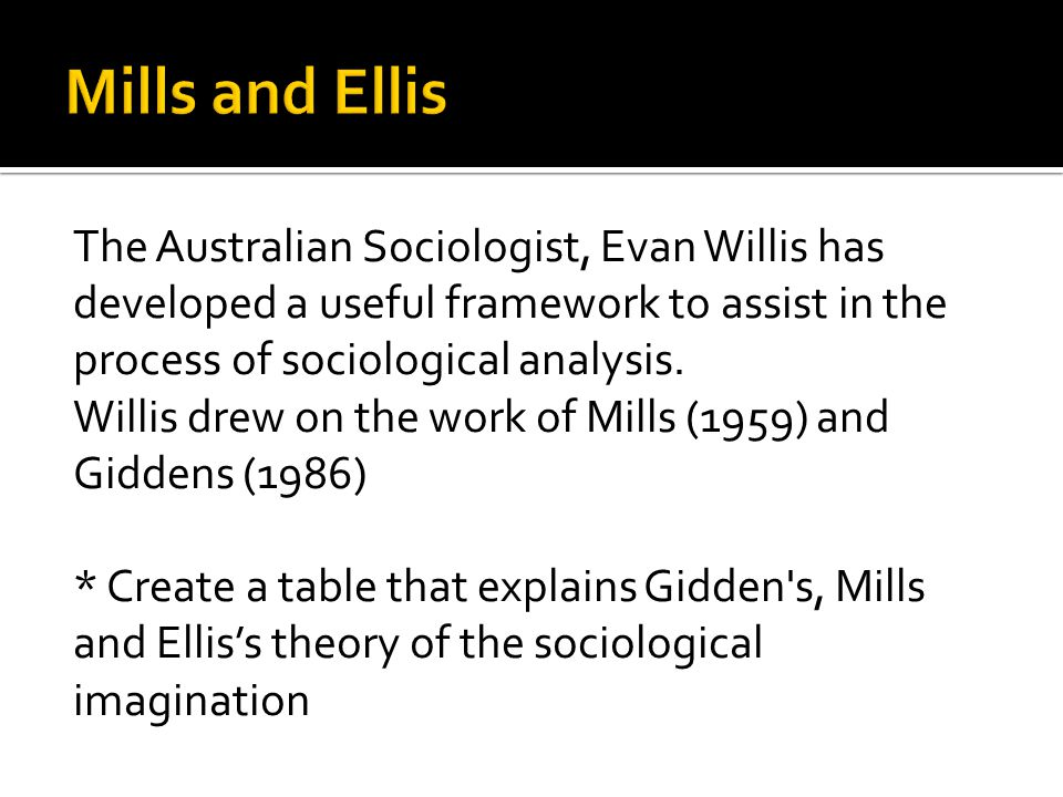 Mills and Ellis The Australian Sociologist, Evan Willis has developed a useful framework to assist in the process of sociological analysis.
