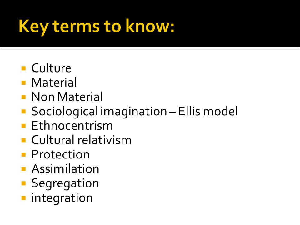 Key terms to know: Culture Material Non Material