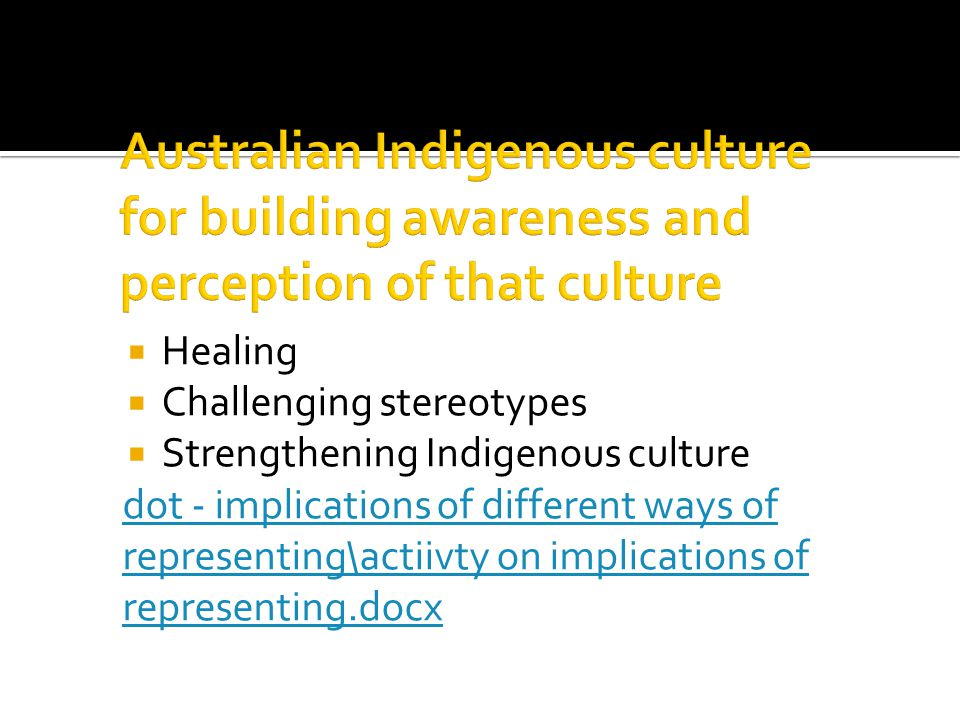 Australian Indigenous culture for building awareness and perception of that culture