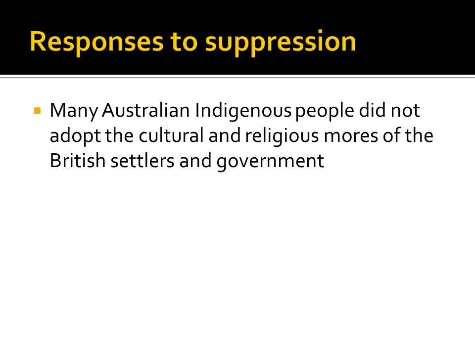 Responses to suppression