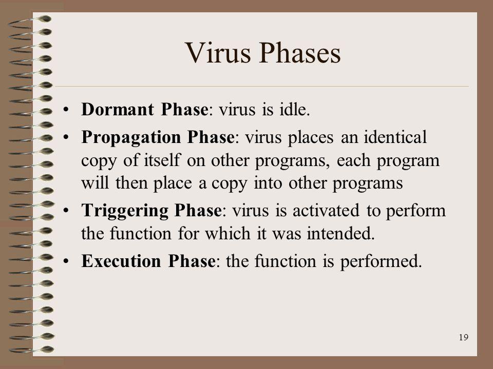 Virus Phases Dormant Phase: virus is idle.