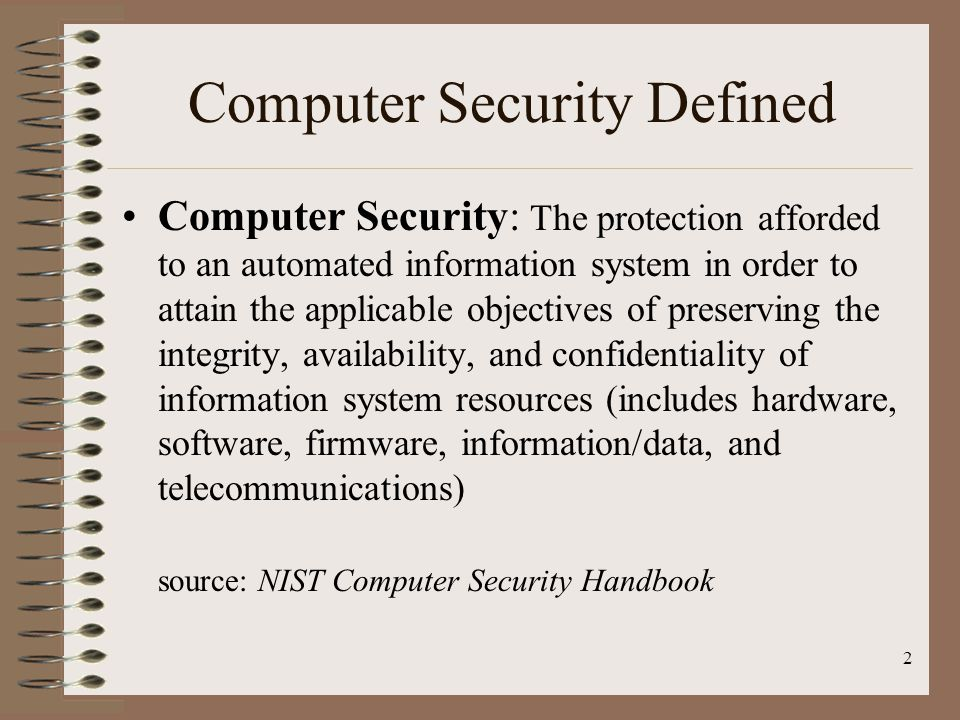 Computer Security Defined